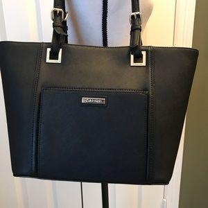 NWT Calvin Klein black saffiano leather tote